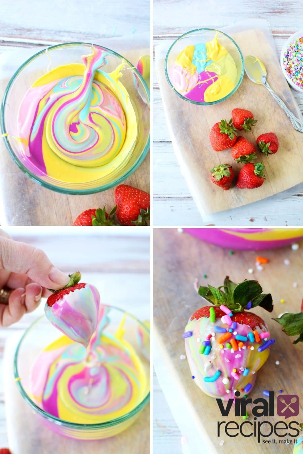 tie dye strawberries with chocolate