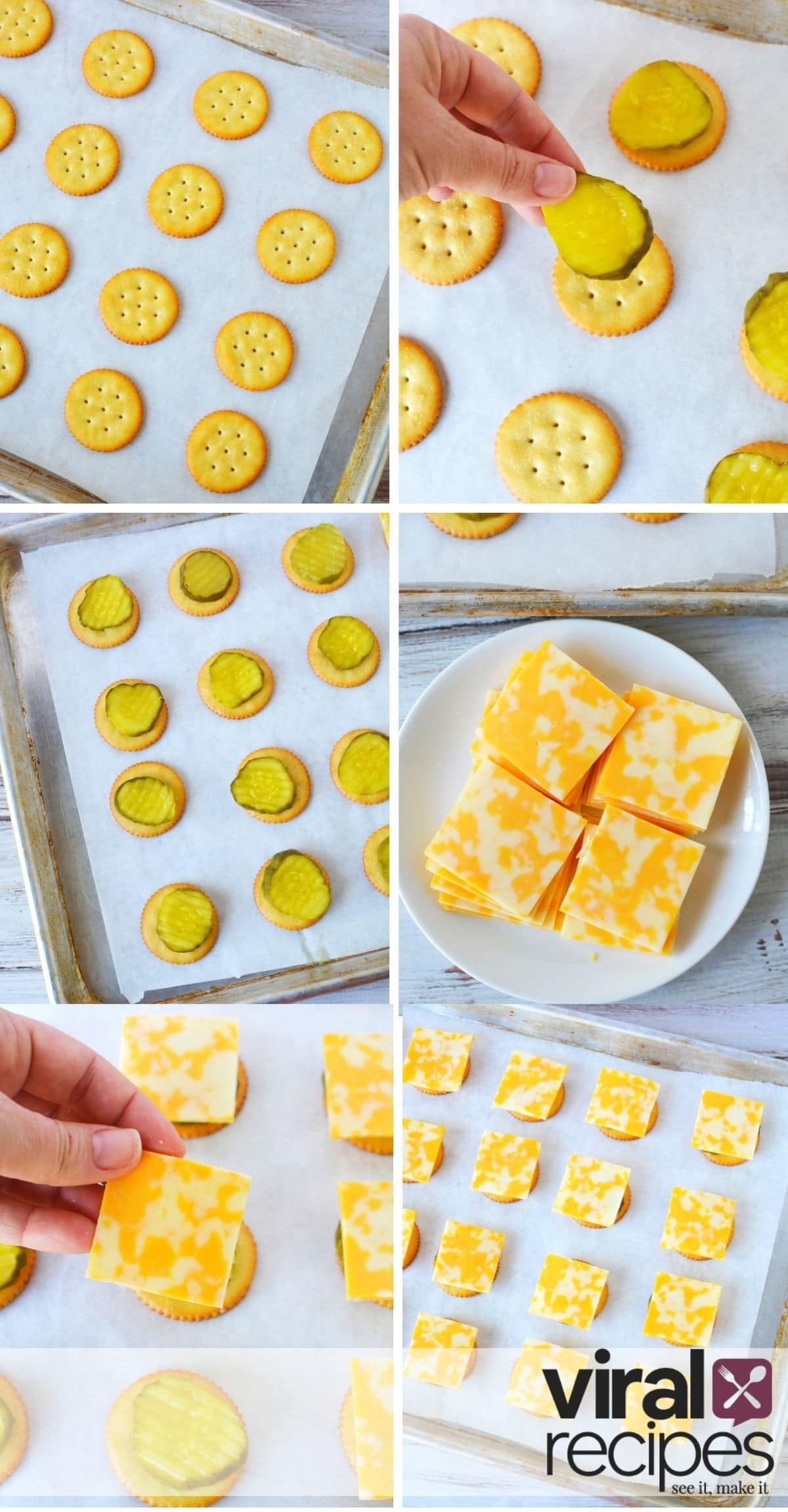 collage of how to make cheese and crackers