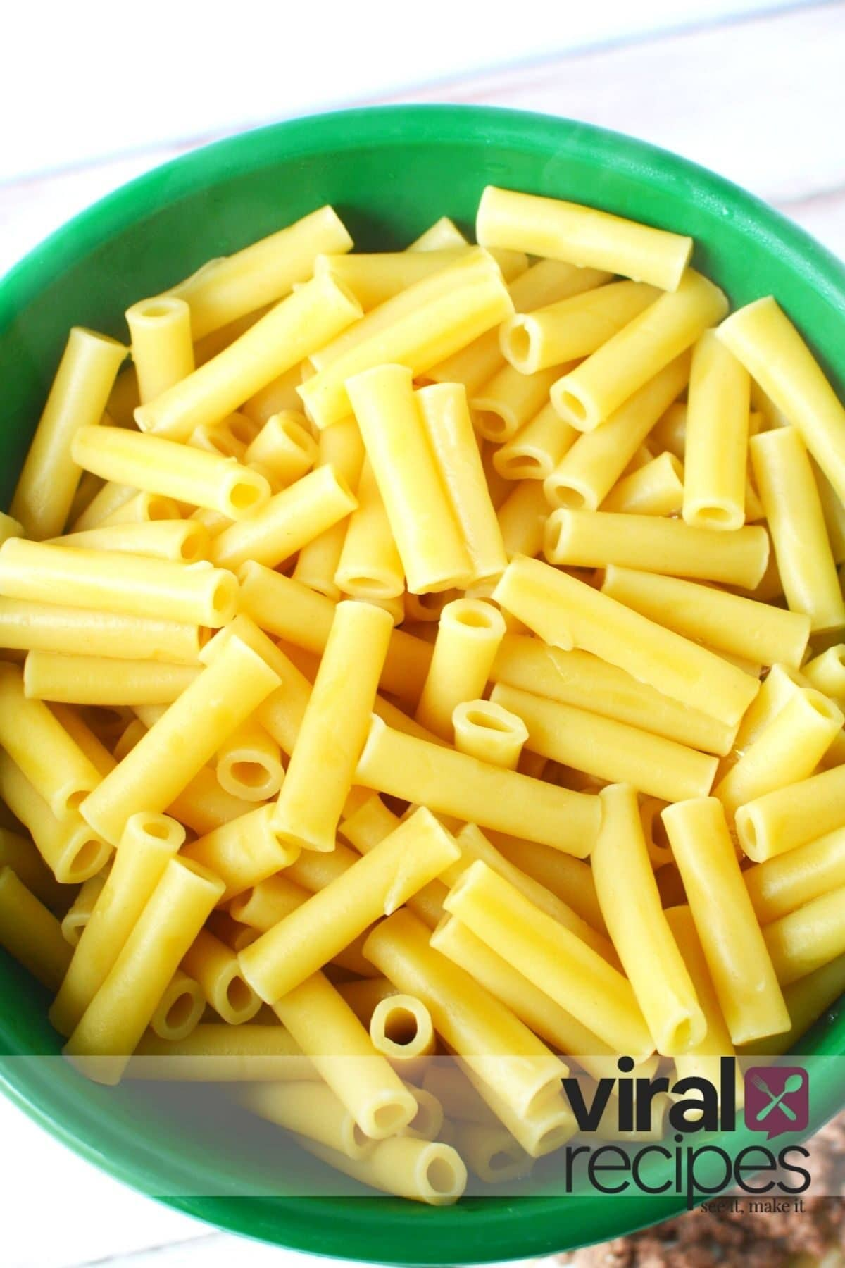 ziti noodles in a strainer
