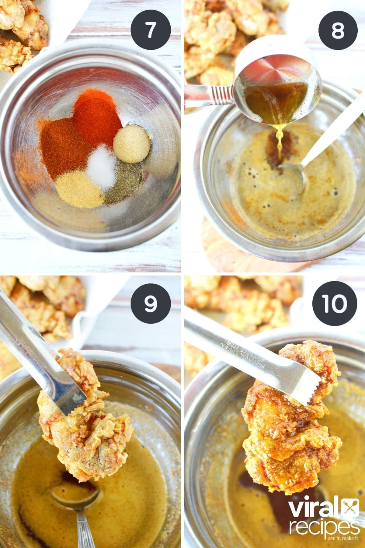 4 collage images of KFC copycat chicken being dipped into Nashville hot sauce.