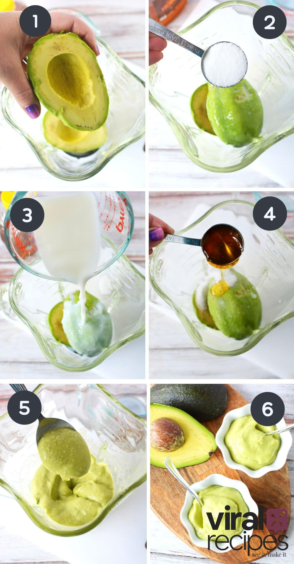 6 image collage of avocado pudding step by step.